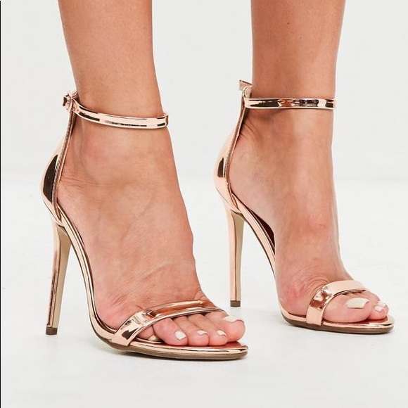 Gold Barely There Strappy Stilettos High Heels by Shoe
